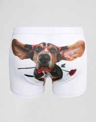 Asos Valentines Trunks With Dog Print White