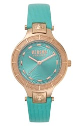 Versus By Versace Claremont Leather Strap Watch 32Mm Green Rose Gold