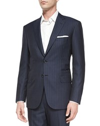 Brioni Striped Two Piece Suit Navy