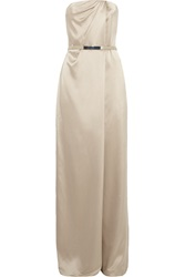 Kaufman Franco Strapless Brushed Silk Jumpsuit Nude
