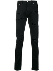 Alexander Mcqueen Destroyed Slim Fit Jeans Black