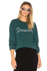 Spiritual Gangster Dreamer Embroidery Muse Slouchy Raglan Sweatshirt Dark Green
