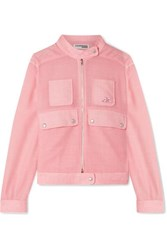 Courreges Checked Linen Bomber Jacket Pink