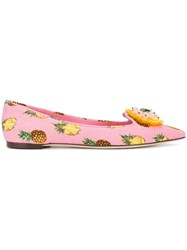 Dolce And Gabbana Pineapple Print Ballerina Pumps Pink Purple