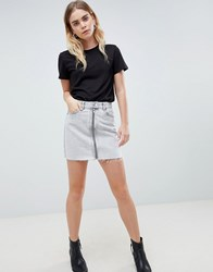Dr. Denim Dr Mini Skirt With Exposed Zip Dirty White