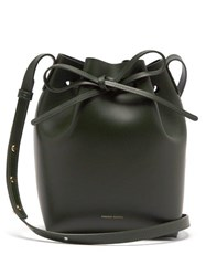 Mansur Gavriel Green Lined Mini Leather Bucket Bag Dark Green
