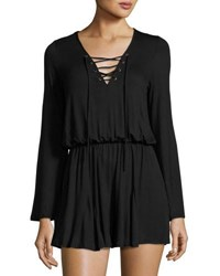 Nytt Lace Up Long Sleeve Romper Black