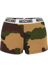 Moschino Camouflage Print Cotton Jersey Boy Shorts Army Green