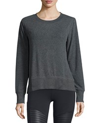 Alo Yoga Glimpse Long Sleeve Top Size M Black Charcoal Heather