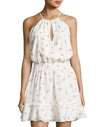 Parker Nathan Floral Print Halter Dress White Pattern