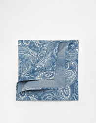 Asos Pocket Square With Paisley And Floral Print Blue