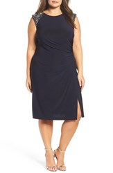 Vince Camuto Plus Size Women's Beaded Faux Wrap Sheath Dress