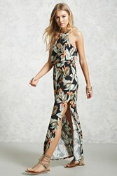 Forever 21 Tropical Print Jersey Maxi Dress Black Green