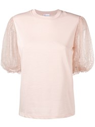 Red Valentino Point D'esprit Puff Sleeve T Shirt Nude And Neutrals