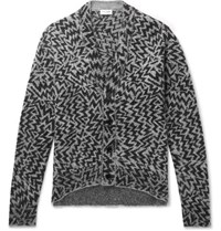 Saint Laurent Wool Blend Jacquard Cardigan Dark Gray