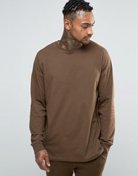 Asos Oversized Long Sleeve T Shirt In Brown Brown