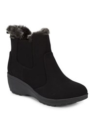 Khombu Ashlee Faux Fur Trimmed Suede Zip Booties Black