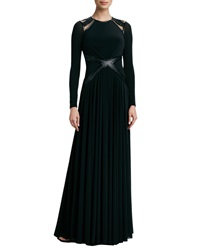 Catherine Deane Leather Trim Long Sleeve Gown