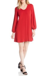 Karen Kane Harper Blouson Sleeve Shift Dress Red