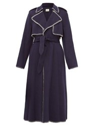 Khaite Roman Whip Stitched Felt Trench Coat Navy