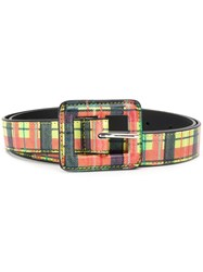 B Low The Belt Checked Buckle Yellow