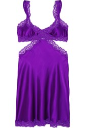 Stella Mccartney Clara Whispering Lace Trimmed Stretch Silk Chemise Purple