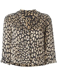 Equipment Leopard Print Blouse Black
