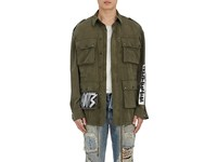 Faith Connexion Men's Paint And Glitter Embellished Cotton Twill Field Jacket Dark Green