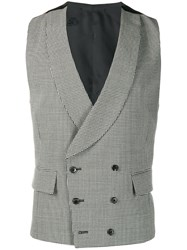 Gabriele Pasini Houndstooth Double Breasted Waistcoat Black