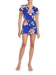 Yumi Kim Paradise Floral Print Faux Wrap Short Jumpsuit Royal Blue