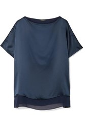 Akris Silk Satin And Georgette Blouse Navy