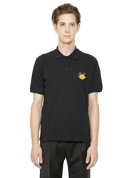 J.W.Anderson Embroidered Cotton Pique Polo Black