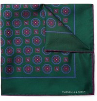 Turnbull And Asser Printed Silk Twill Pocket Square Green