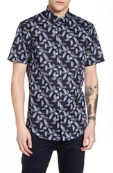 Calibrate Floral Print Sport Shirt Navy Night Painted Floral