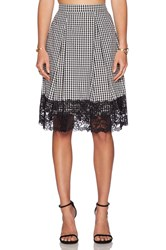Wayf Lace Trim Midi Skirt Black And White