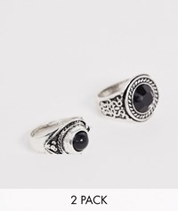 Designb 2 Pack Statement Rings In Silver