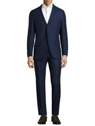 Isaia Slim Fit Donegal Melange Silk And Linen Suit Navy