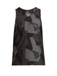 The Upside Geo Camouflage Print Performance Tank Top Grey Multi