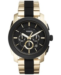 Fossil Men's Chronograph Machine Gold Tone Stainless Steel And Black Silicone Bracelet Watch 45Mm Fs5261