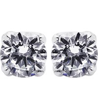 Carat Rosy Round 2Ct Solitaire Stud Earrings White