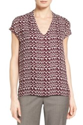 Classiques Entier Silk Overlay Print V Neck Shell Purple