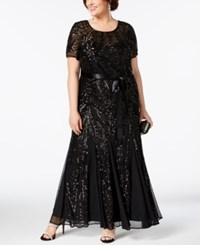 R And M Richards Plus Size Sequined Godet Gown Black