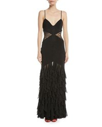 Fame And Partners The Abby Sleeveless Lace Column Gown Black