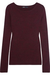 Maje Ribbed Knit Sweater Burgundy