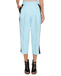 Emporio Armani High Waist Straight Leg Cropped Pants W Contrast Side Stripe Light Blue