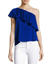 Milly Ruffled One Shoulder Stretch Silk Top Cobalt