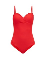 Heidi Klein Pampellonne Scalloped Wrap Swimsuit Red