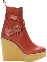 Chloe Red Leather Buckle Platform Boots