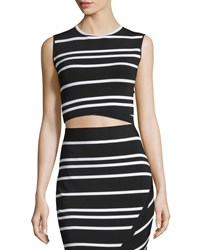Ted Baker Onissa Sleeveless Bias Striped Crop Top Black