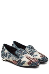 Burberry Shoes And Accessories Printed Mulberry Silk Loafers Brown